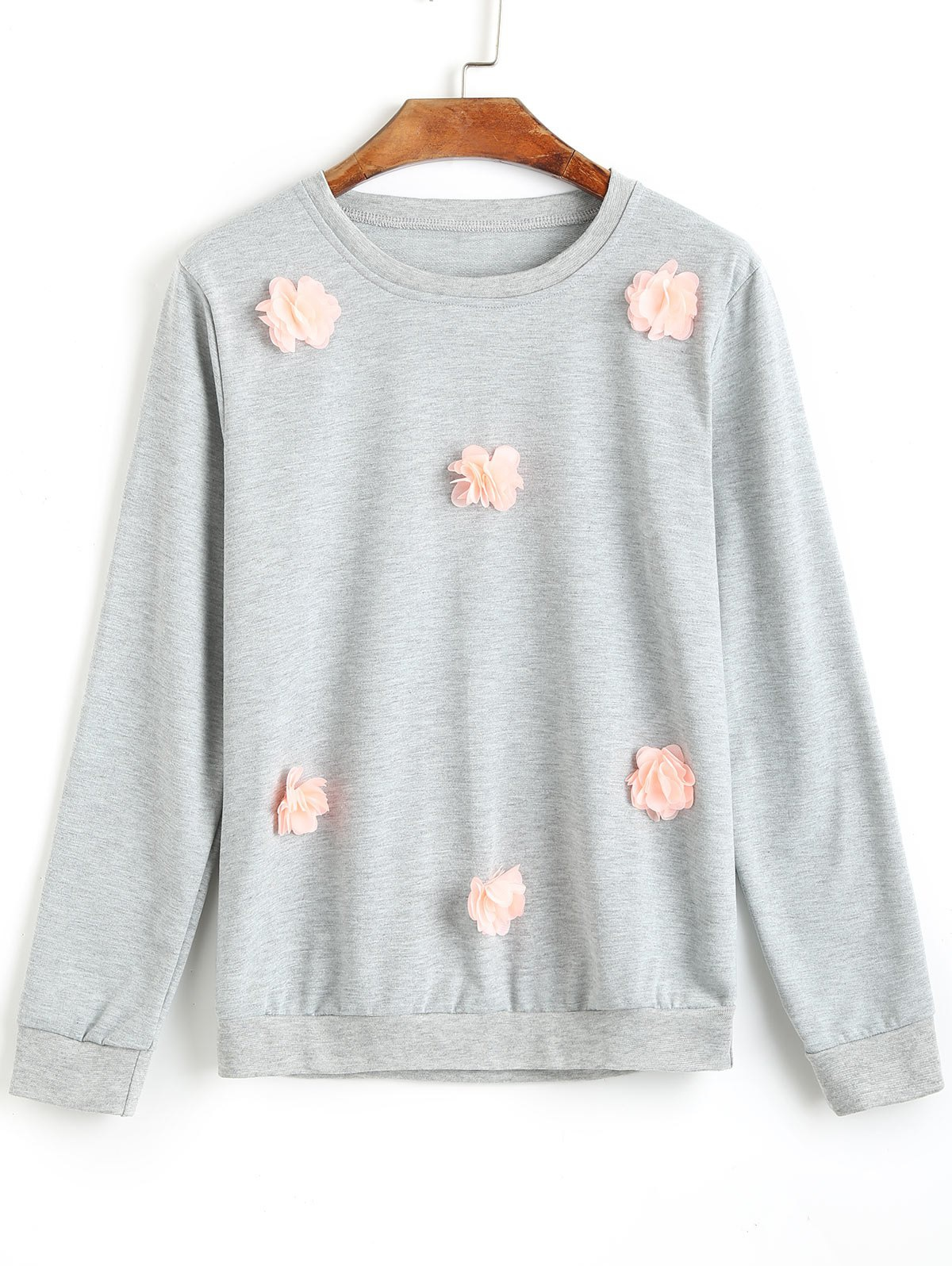 Crew Neck Stereo Floral Sweatshirt