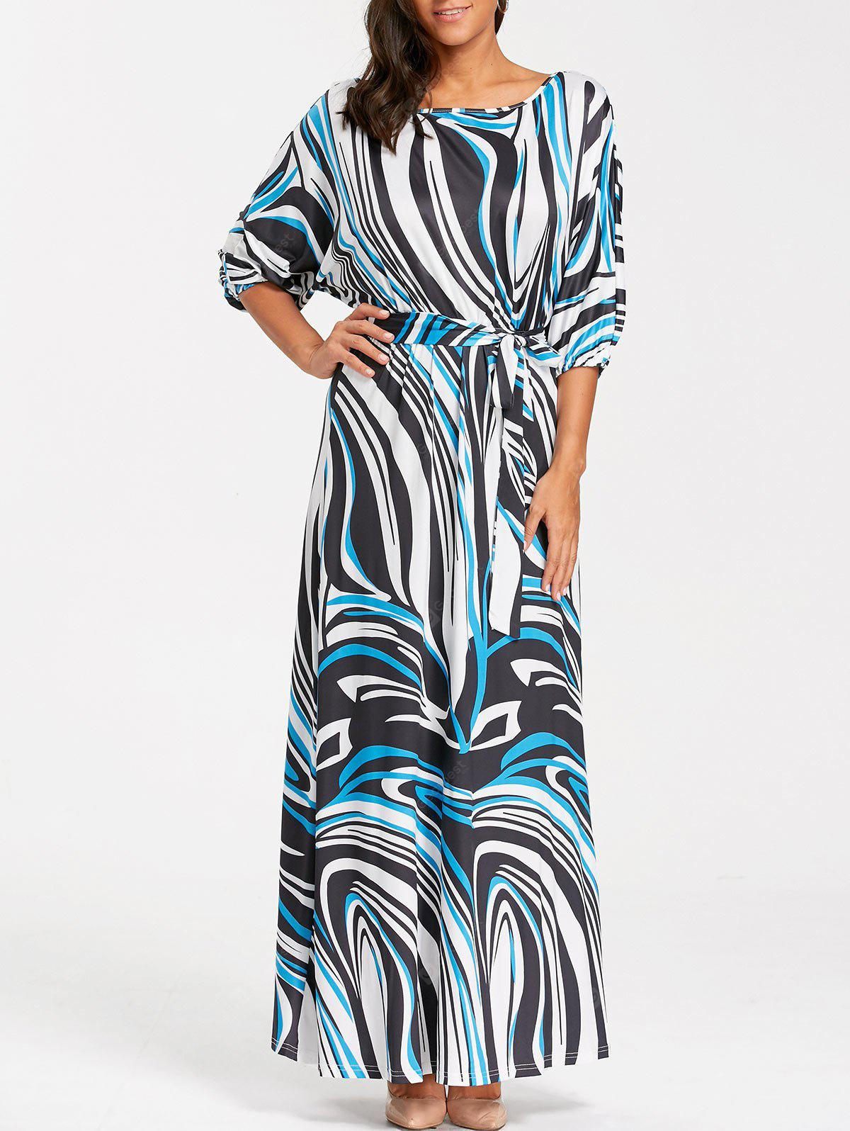 Batwing Sleeve Illusion Print Belted Maxi Dress