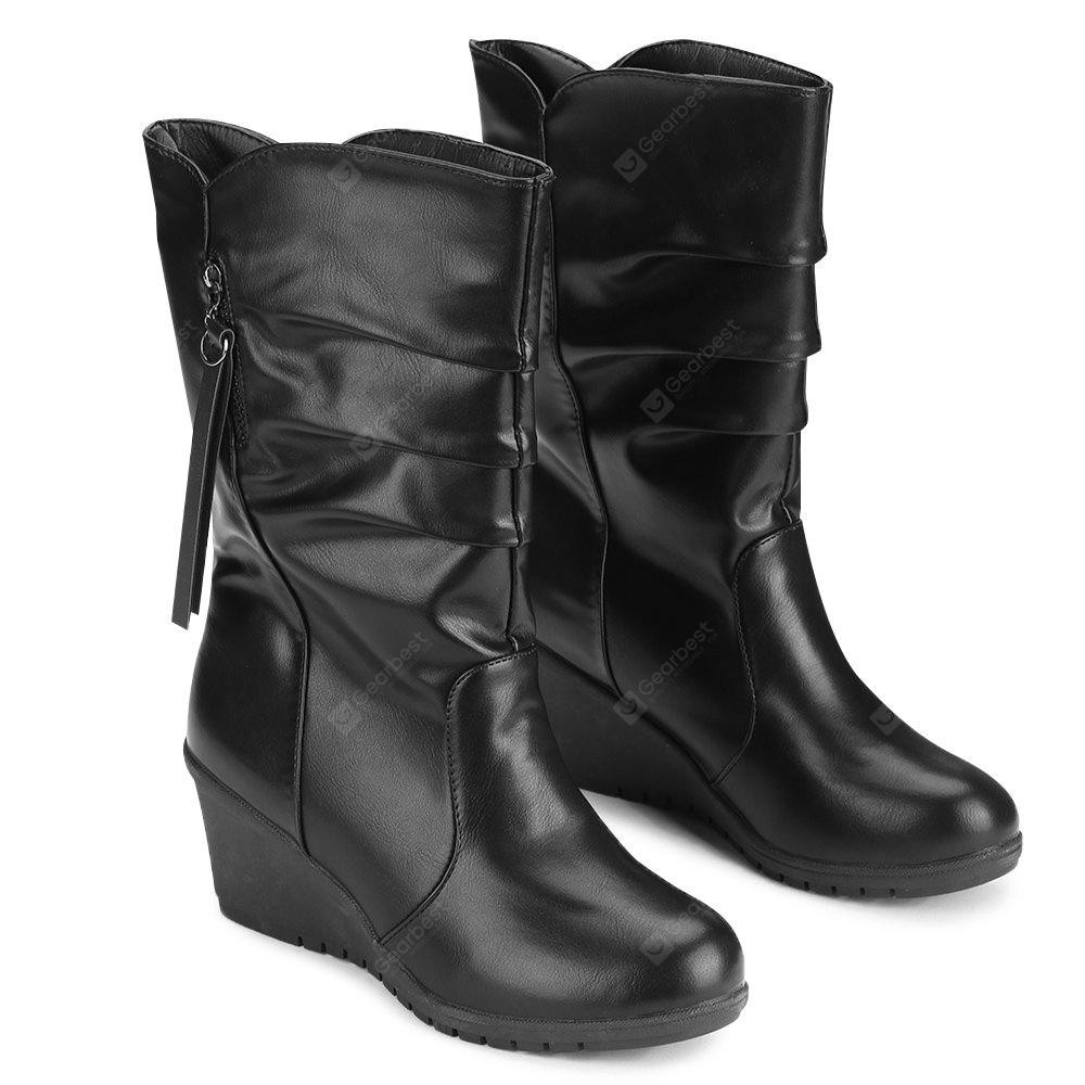 Ruched Wedge Heel Mid Calf Boots