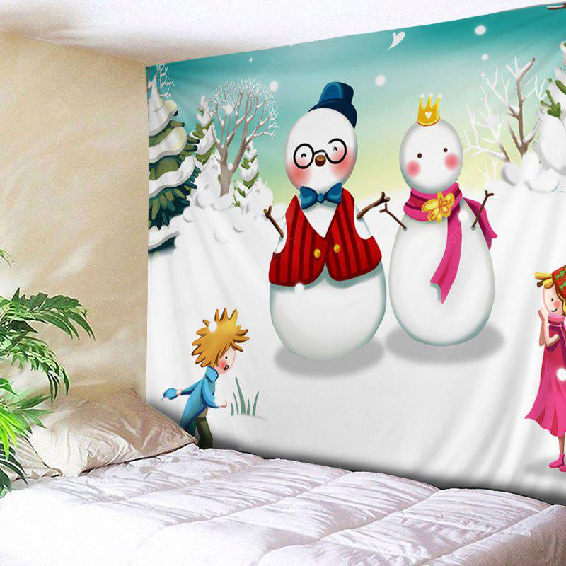 Wall Hanging Art Christmas Snowmen Couple Print Tapestry