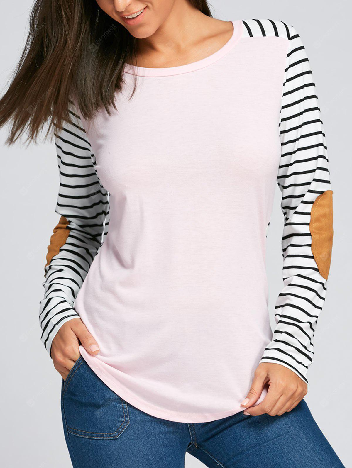 Striped Elbow Patch Long Sleeve Top