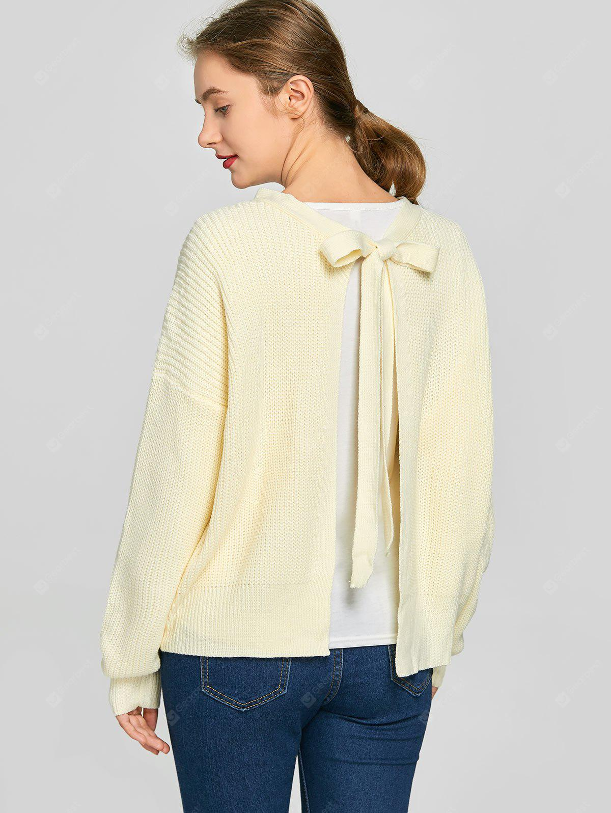 Back Self Tie Bowknot Plain Sweater