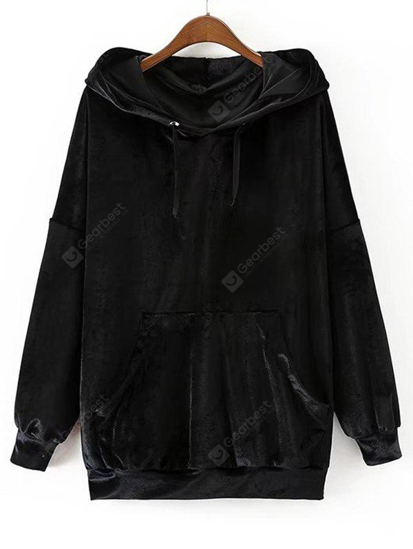 Crushed Velvet Oversized Drawstring Hoodie
