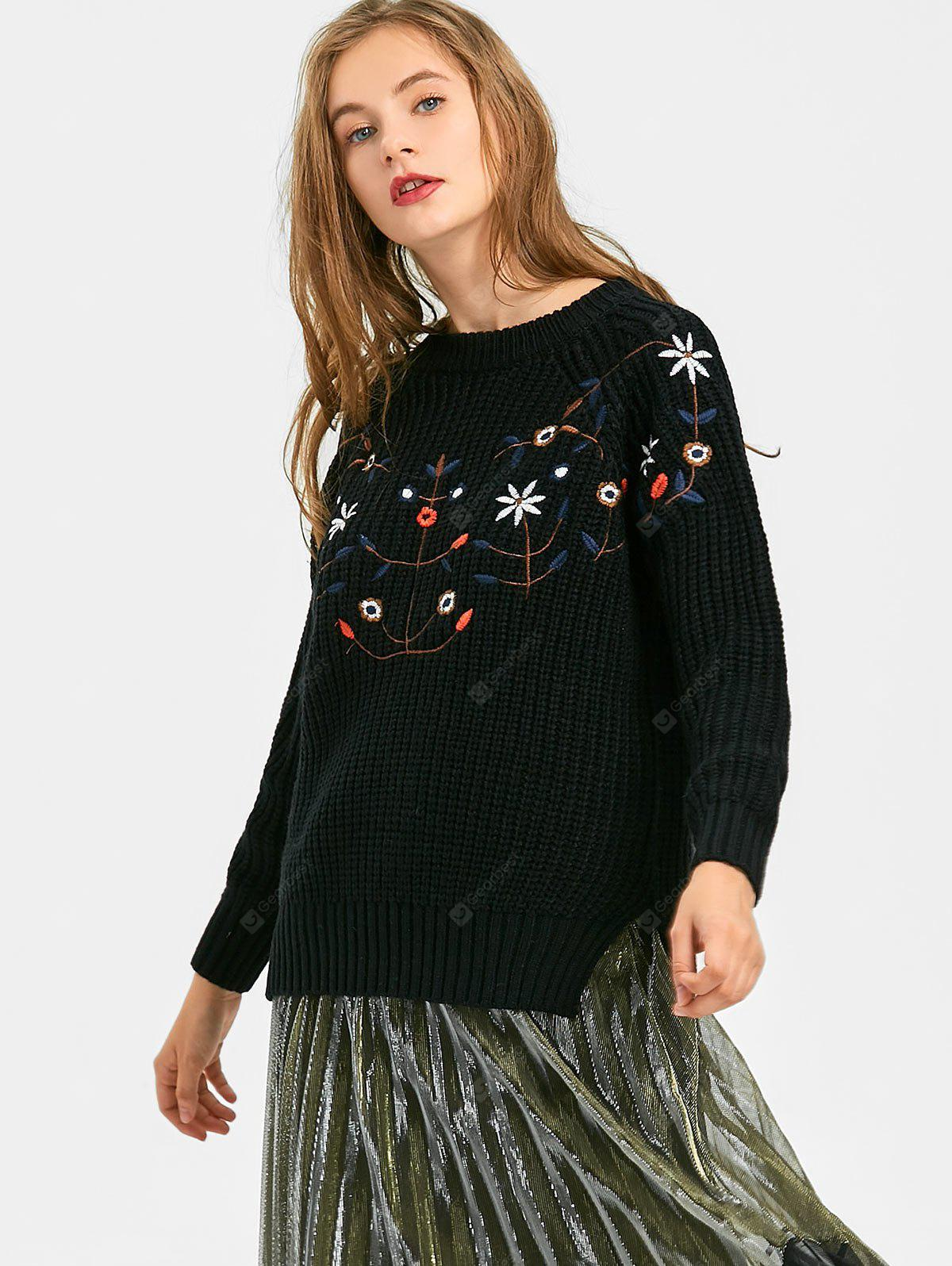 Flower Patched Side Slit High Low Sweater