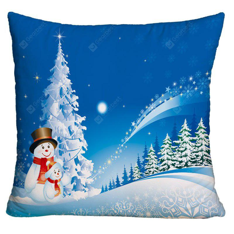 Father and Child Snowman Print Christmas Decorative Pillowcase