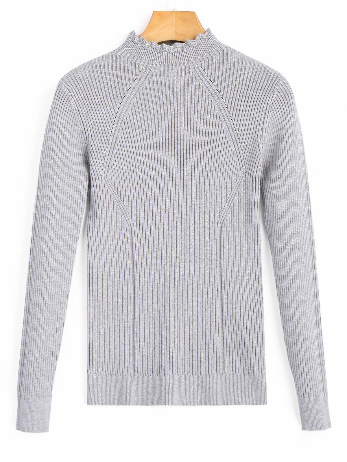 Pullover Scalloped Ribbed Sweater