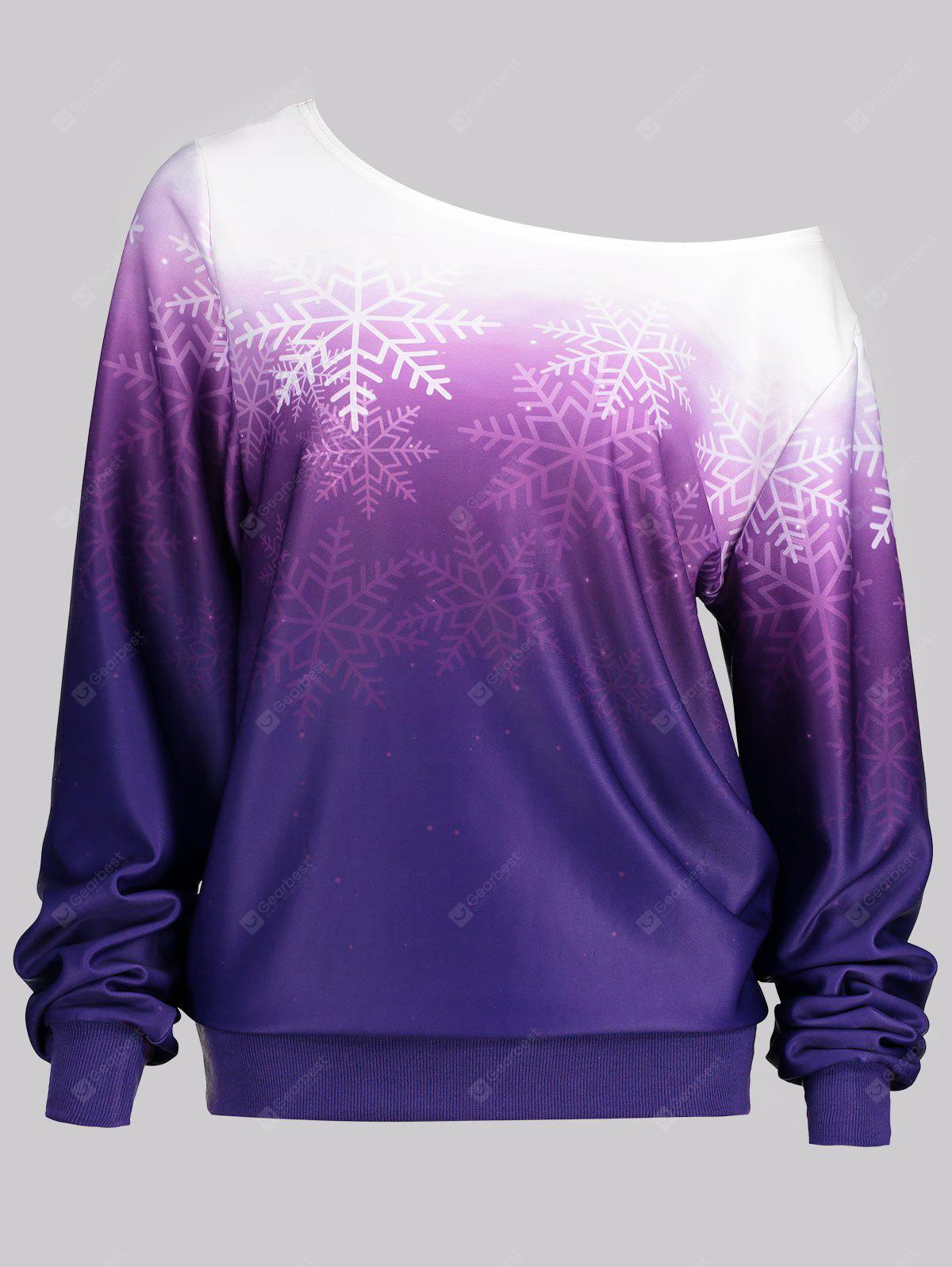 Ombre Color Snowflake Print Skew Neck Sweatshirt