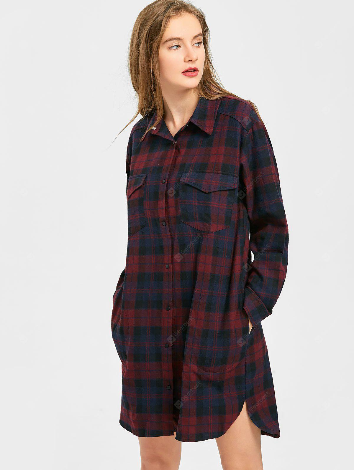 Snap Button Checked Shirt Dress with Pockets