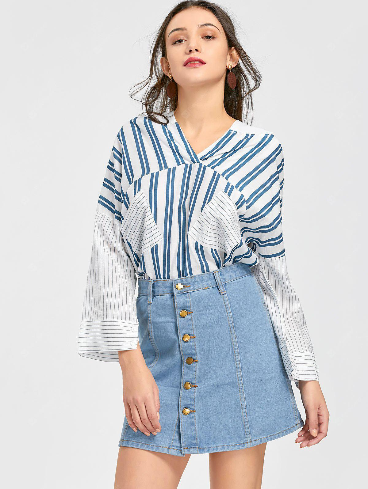 Striped Hooded Blouse with Denim Skirt Set