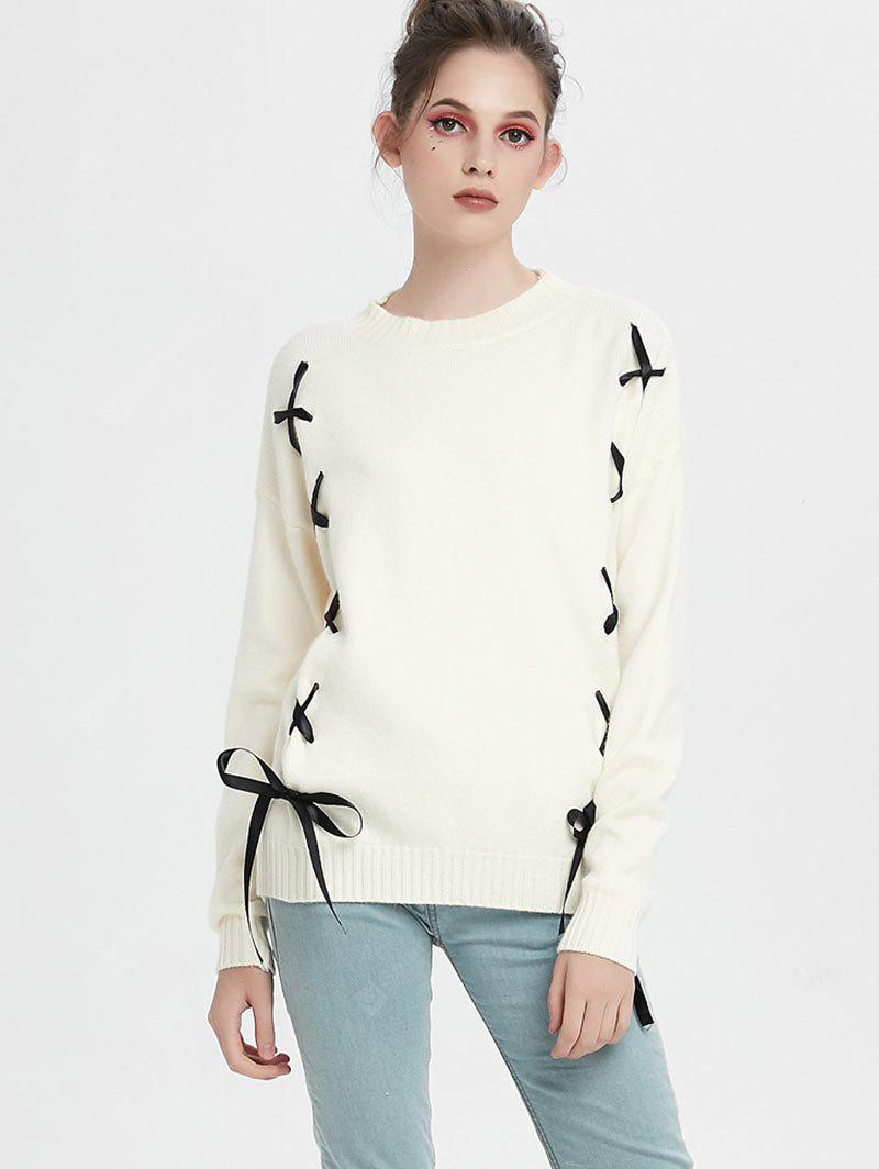 Drop Shoulder Lace Up Pullover Sweater