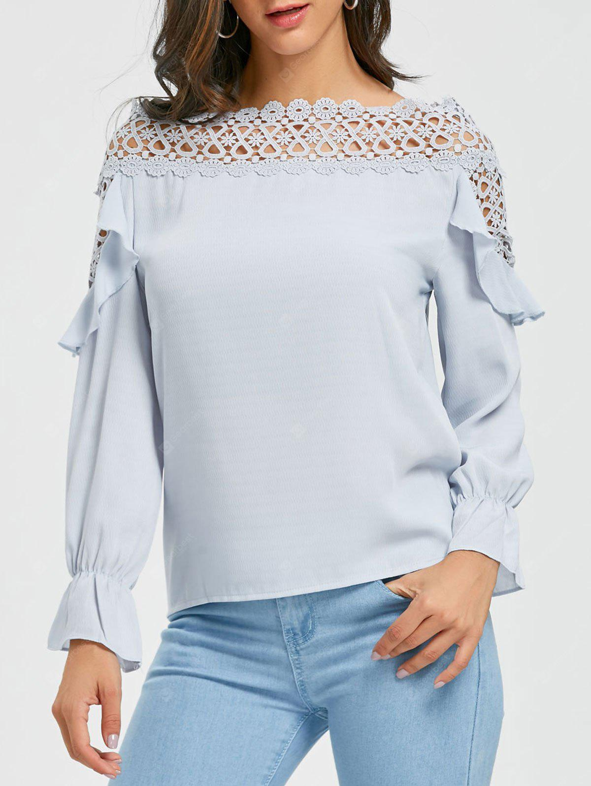 Crochet Cut Out Ruffle Blouse