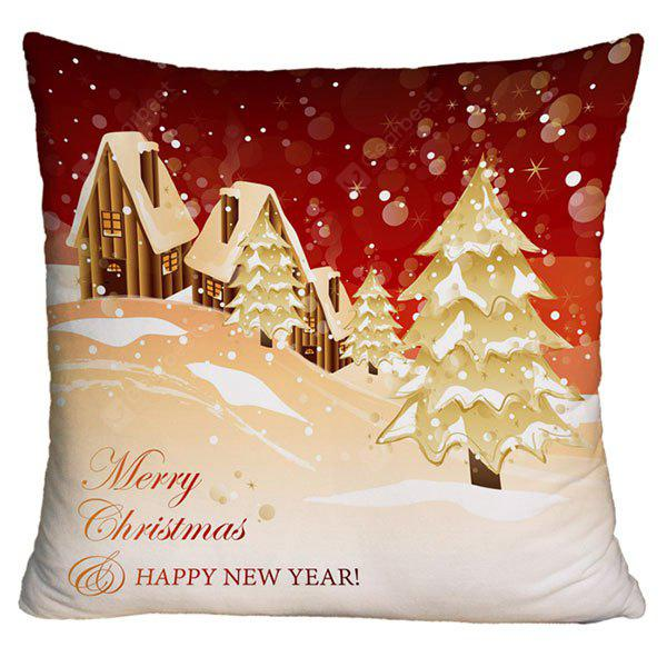 Christmas Snowscape Print Decorative Pillow Case