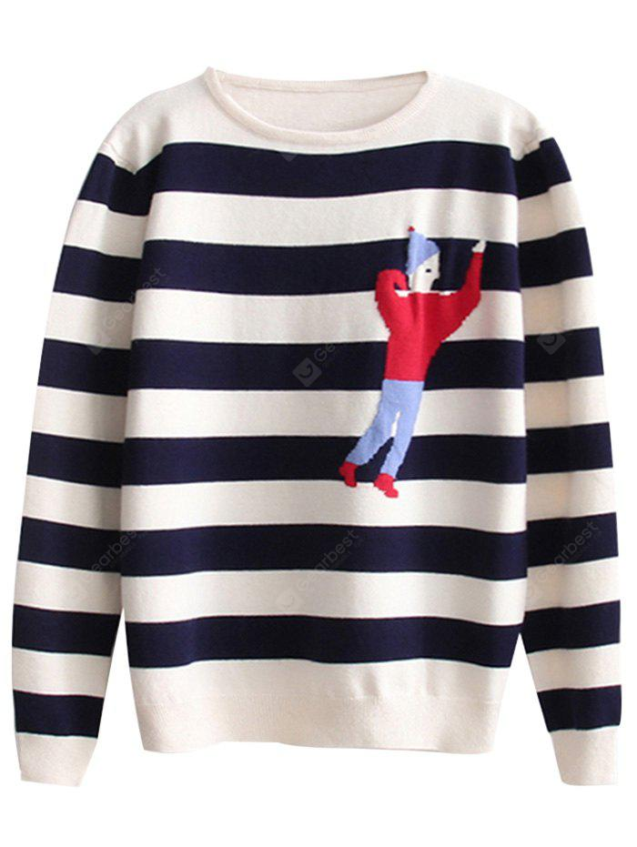 Stripes Cartoon Graphic Pullover Sweater