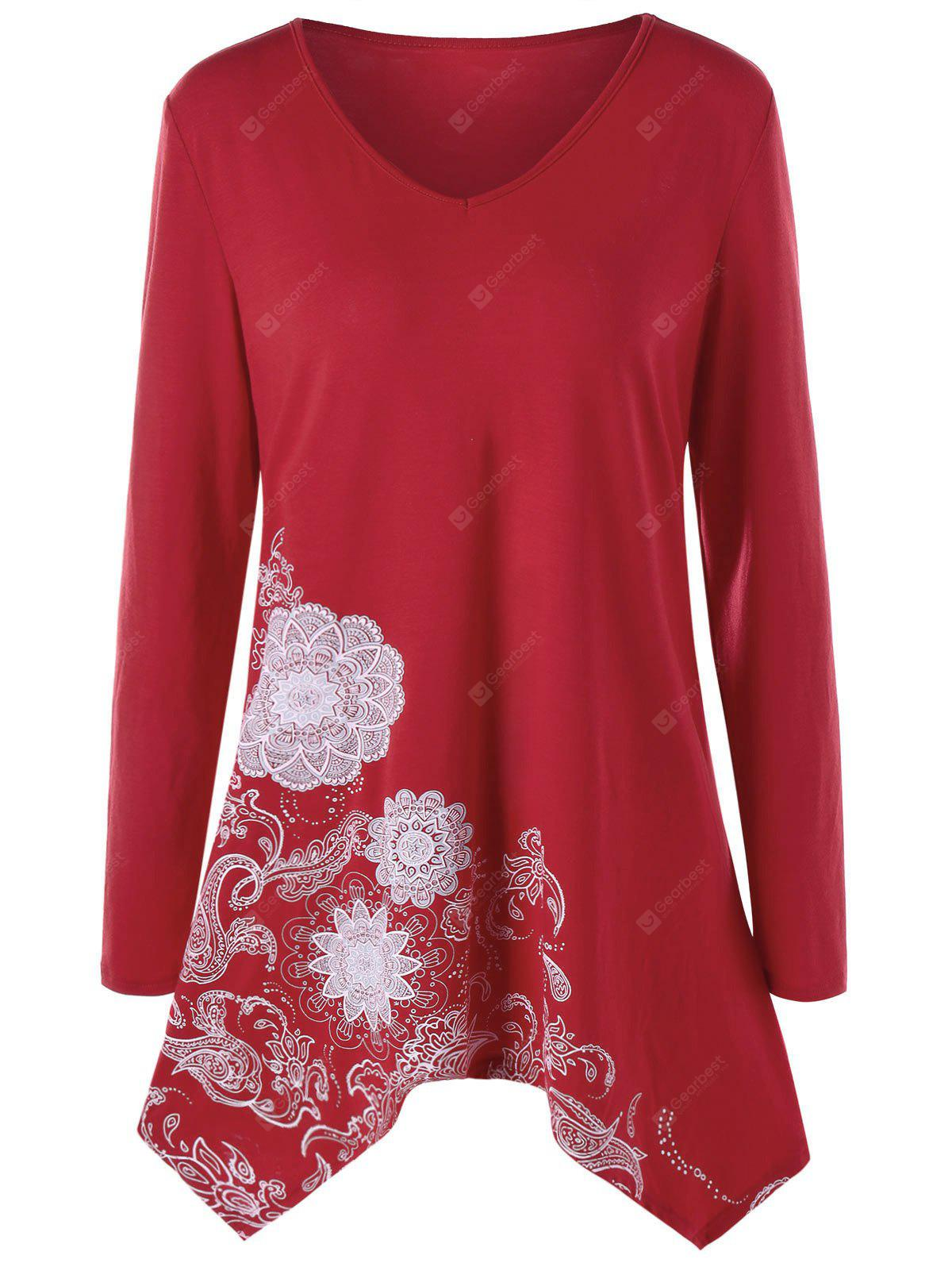 Plus Size Paisley Long Sleeve Tunic Top