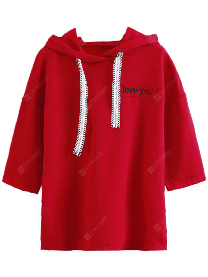 Letter Embroidered Drawstring Hoodie