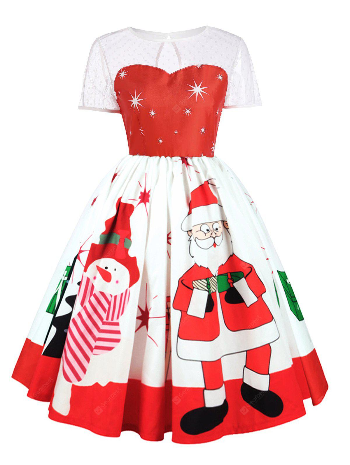Plus Size Christmas Character Print Lace Insert Dress