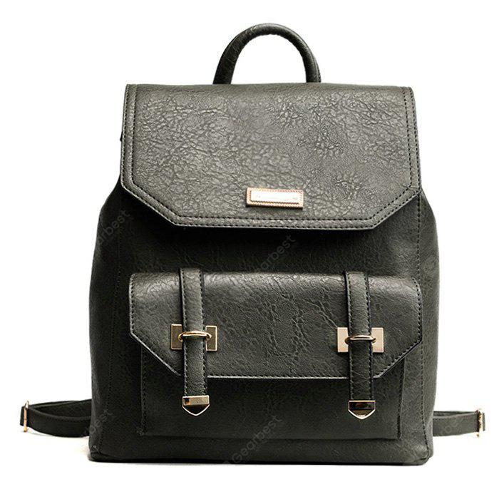 Metal Embellishment PU Leather Backpack