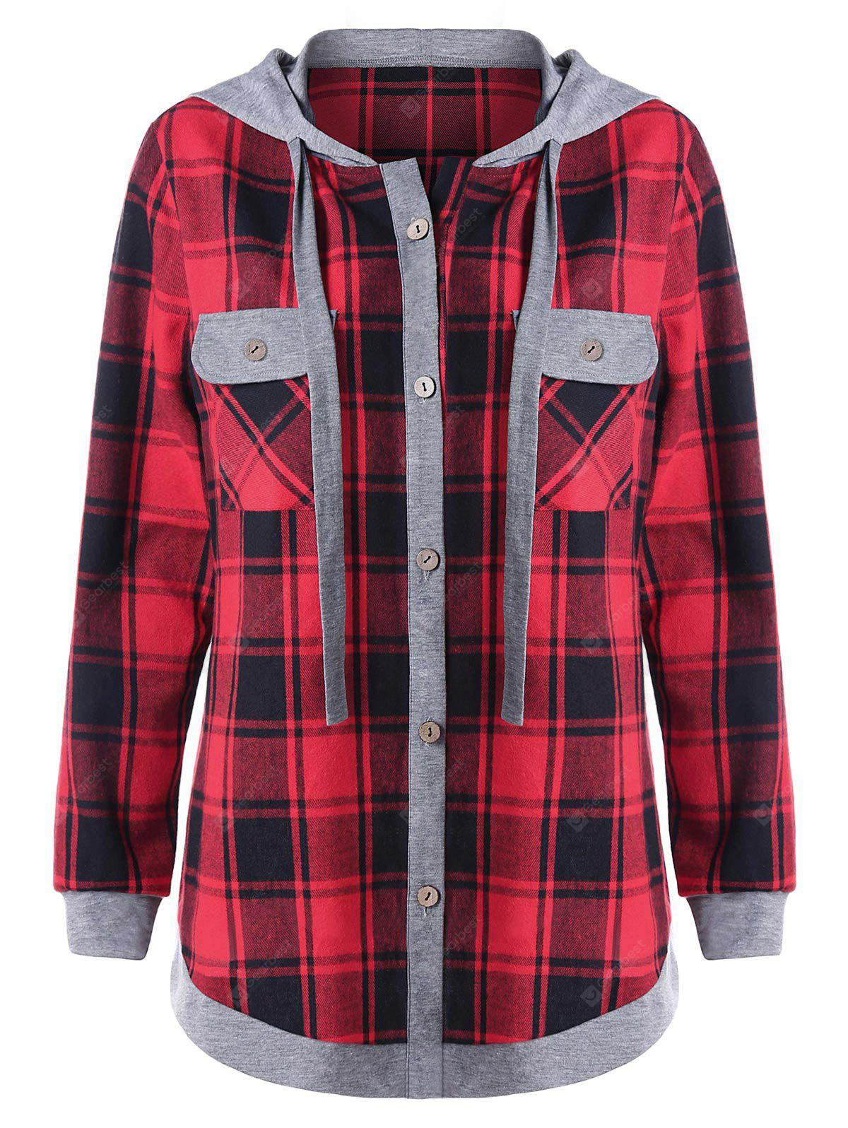 Plus Size Plaid Long Sleeve Hoodie with Pockets