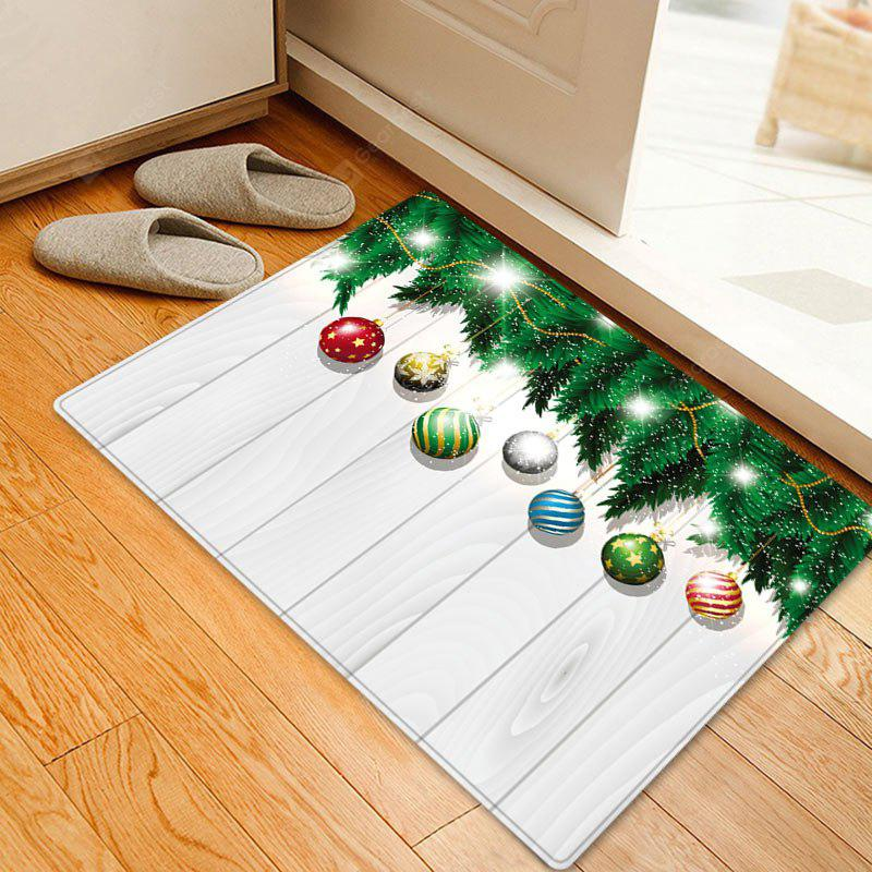 Christmas Baubles Woodgrain Pattern Water Absorption Area Rug