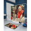 Happy Christmas Snowman Pattern Shower Curtain - COLORFUL