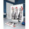 Three Christmas Cats Pattern Bath Shower Curtain - RED + WHITE + GRAY