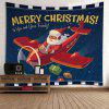 Wall Hanging Art Christmas Santa Airplane Print Tapestry - RED
