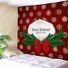 Wall Hanging Art Christmas Bowknot Snowflake Print Tapestry - RED