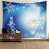 Wall Hanging Art Decor Merry Christmas Snowflakes Print Tapestry - BLUE