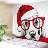 Wall Hanging Art Christmas Hat Dog Print Tapestry - RED