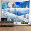 Wall Hanging Art Christmas Moon Night Print Tapestry - COLORMIX