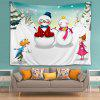 Wall Hanging Art Christmas Snowmen Couple Print Tapestry - WHITE
