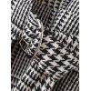 Houndstooth Crossed Front Long Sleeve Dress - CHECKED