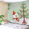 Wall Hanging Art Decor Christmas Tree Snowman Print Tapestry - COLORMIX