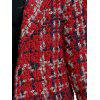 Pockets Snap Button Tweed Coat - RED
