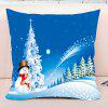Father and Child Snowman Print Christmas Decorative Pillowcase - BLUE