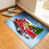 Christmas Car Tree Pattern Water Absorption Area Rug - RED