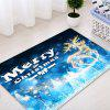 Christmas Deer Forest Pattern Water Absorption Area Rug - BLUE