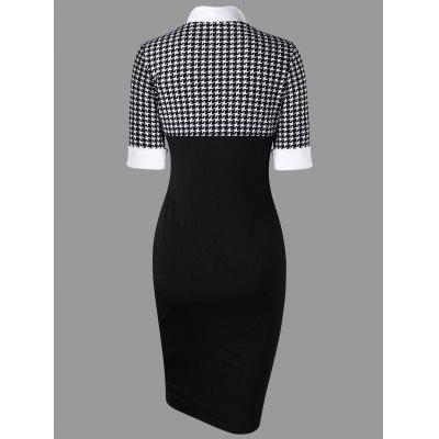 Houndstooth Side Slit Fitted DressBodycon Dresses<br>Houndstooth Side Slit Fitted Dress<br><br>Dresses Length: Knee-Length<br>Embellishment: Button<br>Material: Polyester, Spandex<br>Neckline: Stand<br>Package Contents: 1 x Dress<br>Pattern Type: Houndstooth<br>Season: Fall, Spring<br>Silhouette: Bodycon<br>Sleeve Length: Short Sleeves<br>Style: Vintage<br>Weight: 0.3000kg<br>With Belt: No