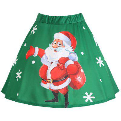 Buy GREEN 4XL Christmas Santa Claus Snowflake Print Plus Size Skirt for $19.19 in GearBest store