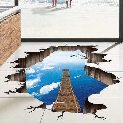 Buy Sky Sea Broken Bridge Pattern PVC Removable 3D Floor Wall Decal, COLORMIX, Home & Garden, Home Decors, Wall Art, Wall Stickers for $4.48 in GearBest store