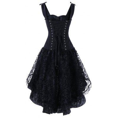 Lace Up High Low Corset DressLingerie &amp; Shapewear<br>Lace Up High Low Corset Dress<br><br>Embellishment: Patch Designs<br>Material: Polyester<br>Package Contents: 1 x Corset Dress<br>Pattern Type: Solid<br>Weight: 0.6500kg