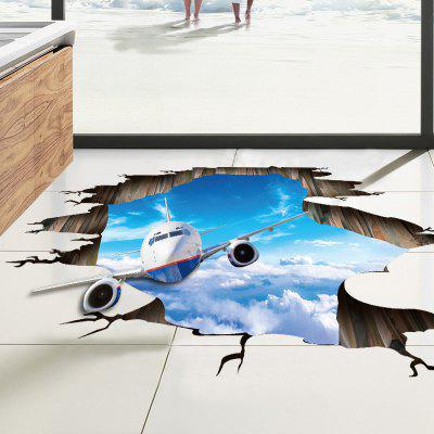 Buy 3D Sky Airplane Pattern PVC Removable Wall Floor Sticker, COLORMIX, Home & Garden, Home Decors, Wall Art, Wall Stickers for $4.48 in GearBest store
