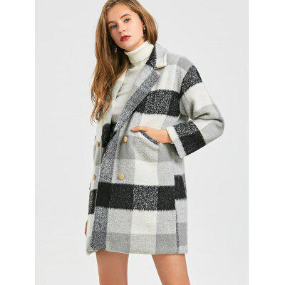 Checked Wool Blend Pea Coat