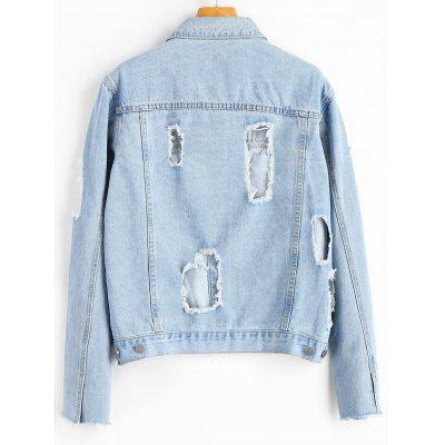 Destroyed Frayed Button Up Denim JacketJackets &amp; Coats<br>Destroyed Frayed Button Up Denim Jacket<br><br>Clothes Type: Jackets<br>Collar: Shirt Collar<br>Embellishment: Frayed<br>Material: Cotton, Jeans, Polyester<br>Package Contents: 1 x Jacket<br>Pattern Type: Others<br>Shirt Length: Regular<br>Sleeve Length: Full<br>Style: Fashion<br>Type: Slim<br>Weight: 0.7700kg