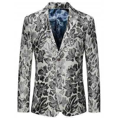 Single Breasted Flap Pockets Floral Blazer
