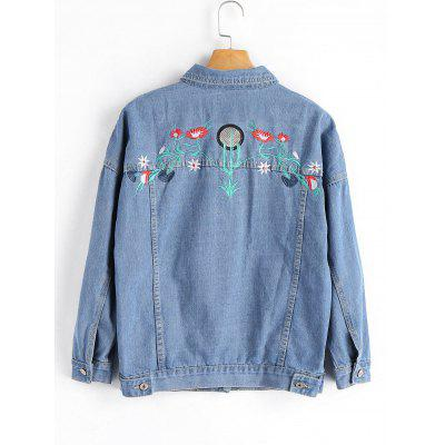 Embroidered Button Up Denim Shirt JacketJackets &amp; Coats<br>Embroidered Button Up Denim Shirt Jacket<br><br>Clothes Type: Jackets<br>Collar: Shirt Collar<br>Embellishment: Embroidery<br>Material: Cotton, Jeans, Polyester<br>Package Contents: 1 x Jacket<br>Pattern Type: Floral<br>Shirt Length: Regular<br>Sleeve Length: Full<br>Style: Fashion<br>Type: Wide-waisted<br>Weight: 0.8500kg