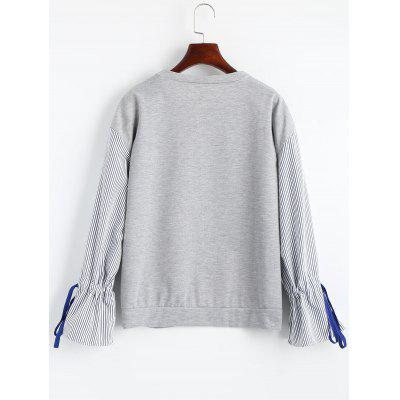 Striped Panel Bell Sleeve SweatshirtSweatshirts &amp; Hoodies<br>Striped Panel Bell Sleeve Sweatshirt<br><br>Clothing Style: Sweatshirt<br>Material: Polyester<br>Neckline: Crew Neck<br>Package Contents: 1 x Sweatshirt<br>Pattern Style: Striped<br>Shirt Length: Regular<br>Sleeve Length: Full<br>Weight: 0.2700kg