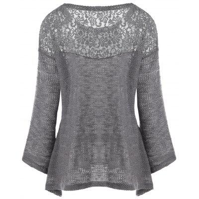 Plus Size Lace Panel Drop Shoulder Long Sleeve SweaterPlus Size<br>Plus Size Lace Panel Drop Shoulder Long Sleeve Sweater<br><br>Collar: Scoop Neck<br>Material: Polyester, Spandex<br>Package Contents: 1 x Cardigan<br>Pattern Type: Others<br>Season: Fall, Spring<br>Sleeve Length: Full<br>Style: Fashion<br>Type: Pullovers<br>Weight: 0.4000kg