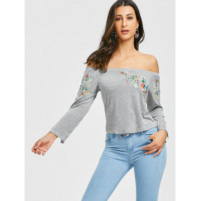 Off The Shoulder Floral Embroidered T-shirtBlouses<br>Off The Shoulder Floral Embroidered T-shirt<br><br>Collar: Off The Shoulder<br>Embellishment: Embroidery<br>Material: Cotton, Polyester<br>Package Contents: 1 x T-shirt<br>Pattern Type: Floral<br>Season: Fall, Spring<br>Shirt Length: Regular<br>Sleeve Length: Full<br>Style: Fashion<br>Weight: 0.2200kg