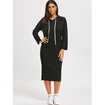 Drawstring Slit Midi Hoodie DressWomens Dresses<br>Drawstring Slit Midi Hoodie Dress<br><br>Dresses Length: Mid-Calf<br>Material: Cotton, Polyester<br>Neckline: Hooded<br>Package Contents: 1 x Dress<br>Pattern Type: Solid<br>Season: Spring, Fall<br>Silhouette: Straight<br>Sleeve Length: Long Sleeves<br>Style: Casual<br>Weight: 0.4800kg<br>With Belt: No